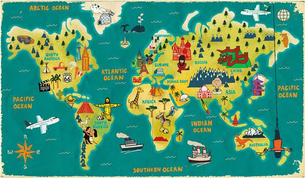 World Map Paul Thurlby